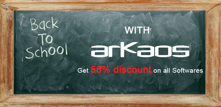 Back to school, get 50% discount on all software.